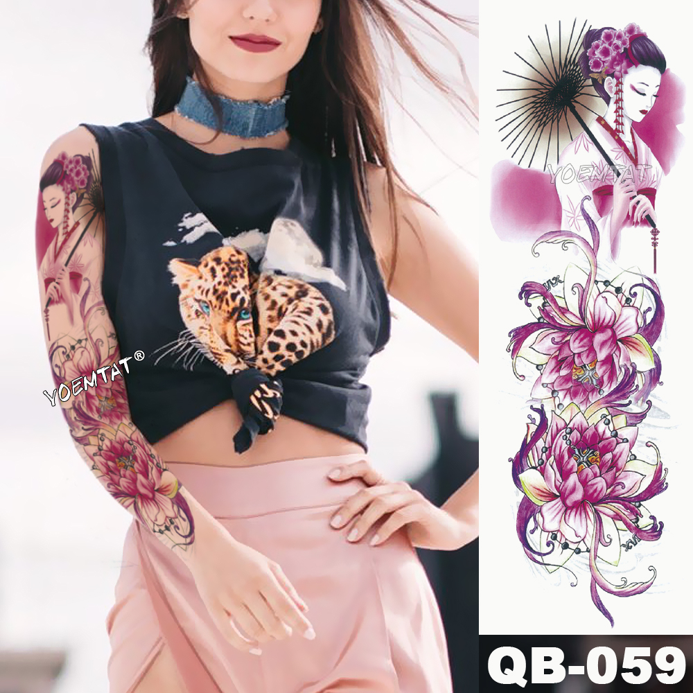 New 1 Piece Temporary Tattoo Sticker Geisha Pink Lotus Flower Tattoo With Arm Body Art Big Sleeve Large Fake Tattoo Sticker