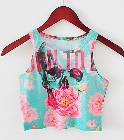 2015 New Arrival Tank Top Women Suger Skull Crop Tops And Sexy Top Cropped