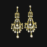 Gold Silver AB Color Pearl Rhinestones New Bohemia Chandelier Long Drop Earring For Women Hot Selling