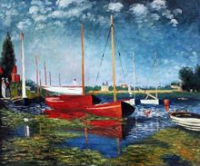 Red Boats at Argenteuil by Claude Monet Handpainted