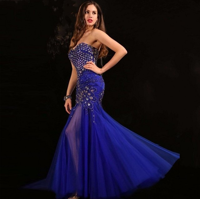 50affa2e853 New Arrival Fashion Mermaid Sweetheart Sleeveless Beads Crystal Ruched Off  the Shoulder Chiffon Celebrity Dresses Formal