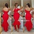 Arabia Saudita Dubai Vestido de Noche de Manga Corta Sirena Roja vestidos de Fiesta vestidos 2017 Vestido de Festa Fuera del Hombro Myriam vestido