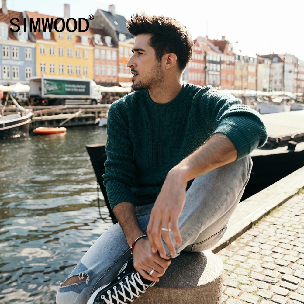 SIMWOOD New Brand Wool Sweater Men 2019 Autumn Winter Fashion Knitted Pullover Men Cashmere Sweater High Quality 180369