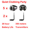Silent Disco complete system black folding wireless headphones - Quiet Clubbing Party Bundle (5 Headphones + 2 Transmitter)