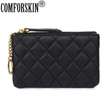 COMFORSKIN Fashion Soft Genuine Leather  Women Coin Purse Wallet New Arrivals Sheepskin Geometric Style Lays Zipper 2018