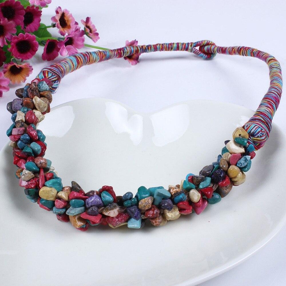New Natural Beads Bohemia Handmade Statement Collar Necklace Women Jewelry