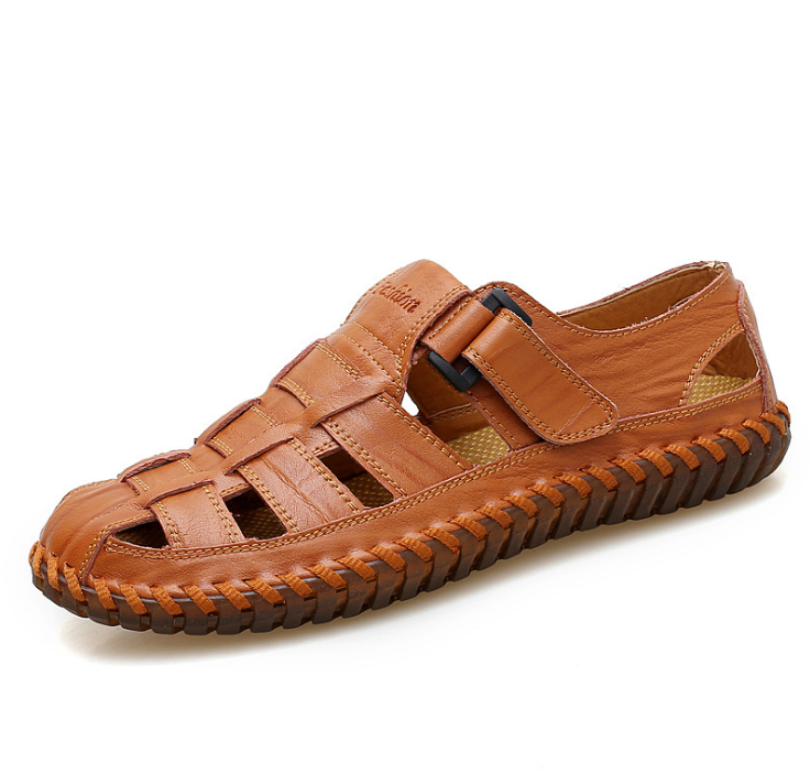 Fashion Casual Genuine Leather Men Sandals Summer Breathable Comfort Loafers Buckle Design Male Beach Shoes Handmade Shoes Z89