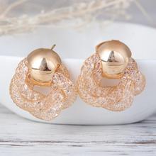 Snake pattern Earrings Korea wind Flower crystal Stud Earring women