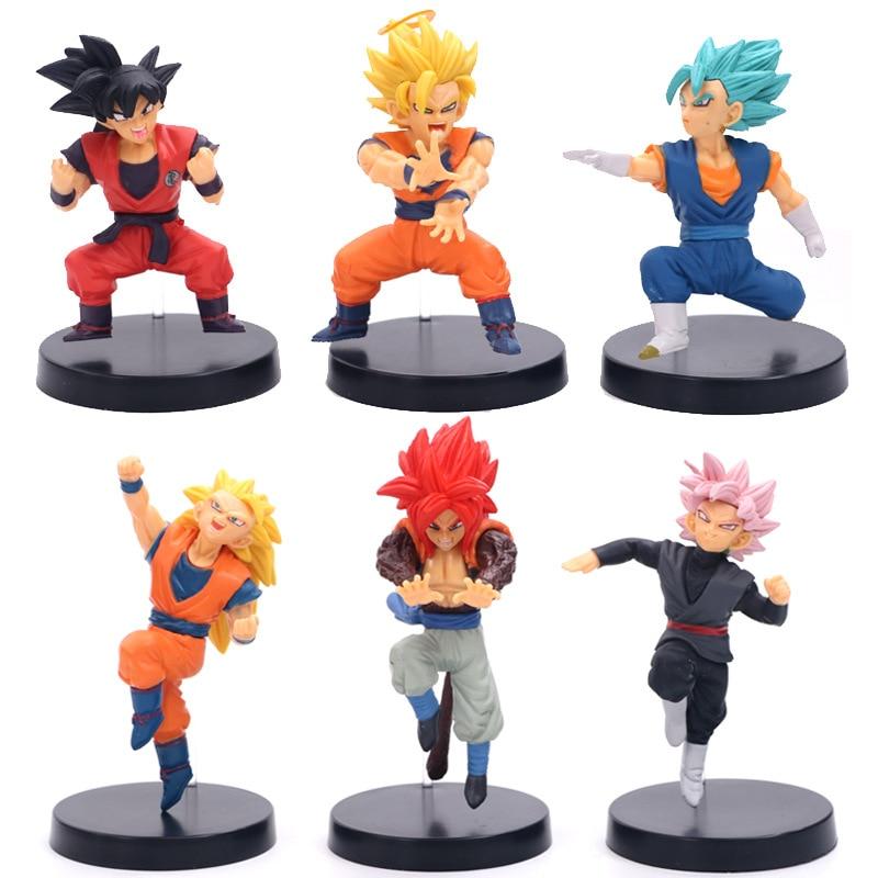 HKXZM Anime 6pcs/set Dragon Ball Z Vegetto Vegeta Zamasu Goku Black Gogeta PVC Figures Model Toy Dolls Gift