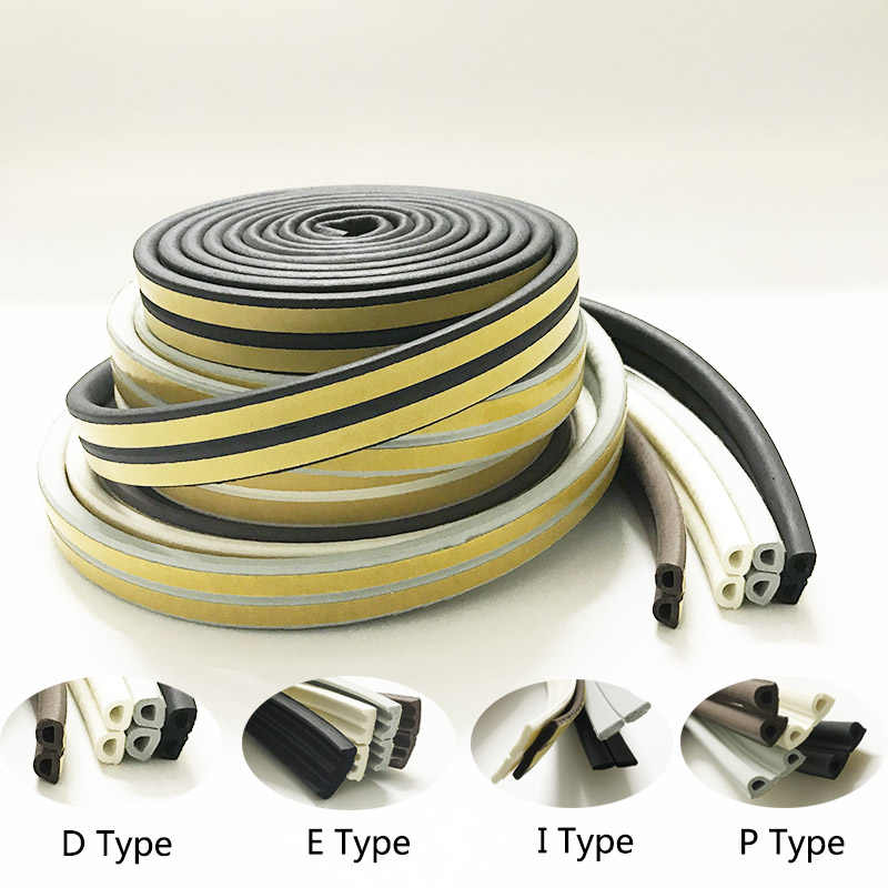 E/D/P/I Type Doors Window Soundproof Seal Strip Self-Adhesive Foam Rubber Weatherstrip Windows Sealed Door Collision Strip 5m