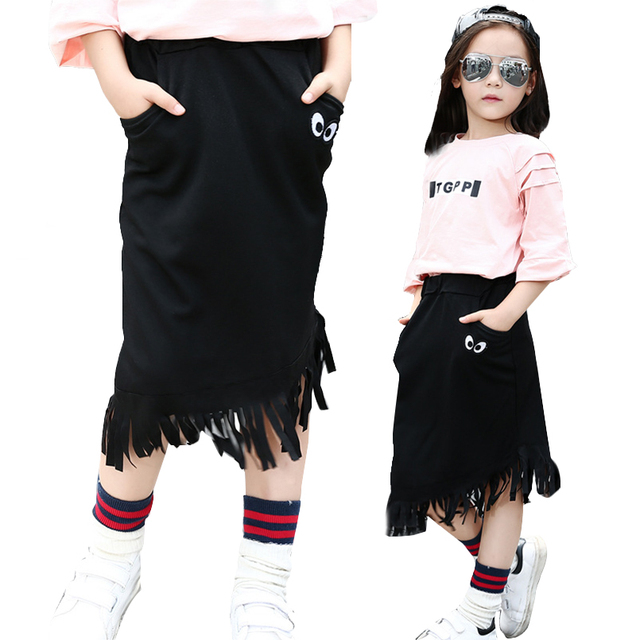 Girls Tutu Skirts Cotton Kids Clothes Black Tassels Skirts For Girls Children Clothing 2017 Elastic Waist Costumes 5 7 9 11 12Y