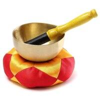 Tibetan Buddhism Meditation Healing Hand Hammered Brass Singing Bowl Cushion Set