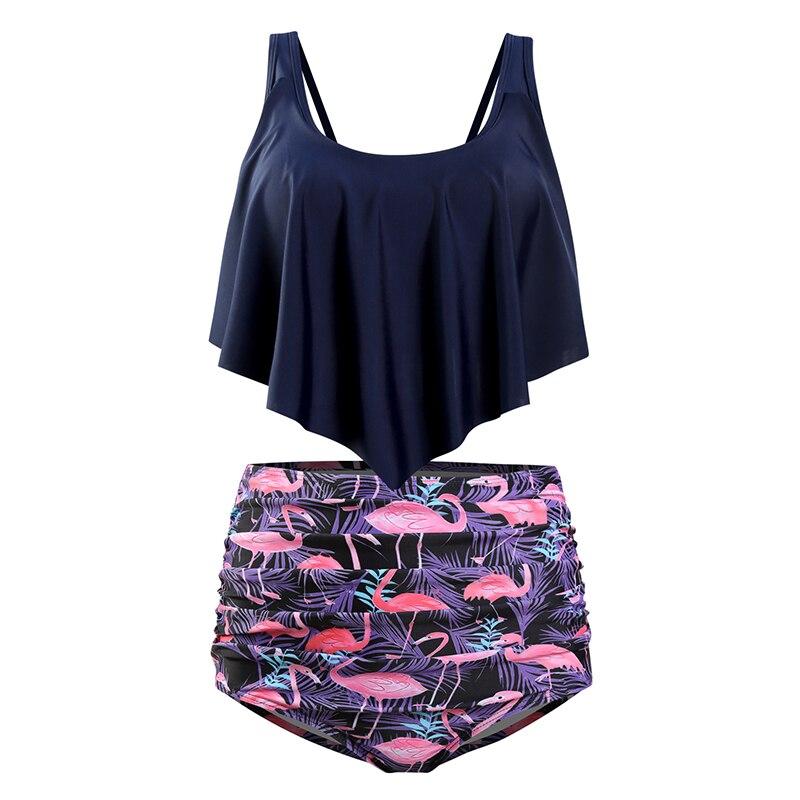 HTB1BB9hX.CF3KVjSZJnq6znHFXaP High Waist Swimsuit 2019 Sexy Bikinis Women Swimwear Ruffle Vintage Bandeau Striped Bottom Bikini Set Bathing Suits