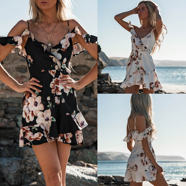 7c2d4567125e8 US $7.81 11% OFF|Sexy Ruffles Floral Print Boho Dress Women Sexy V neck  Strap Mini Dress Summer 2018 New Chic Summer Dress Robe Femme Sundress-in  ...