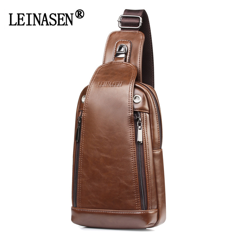BAILLR Men Brand Leather Chest Crossbody Bag Casual Men Messenger Bag Vintage Chest Waist Pack Zipper