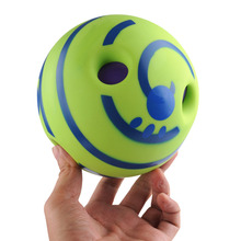Фотография New 2015 Pet Dog Cat Funny Trainer Products Sound Toys Vinyl ball with Bite Holes For Training Dogs Repeller Real Cool DY200
