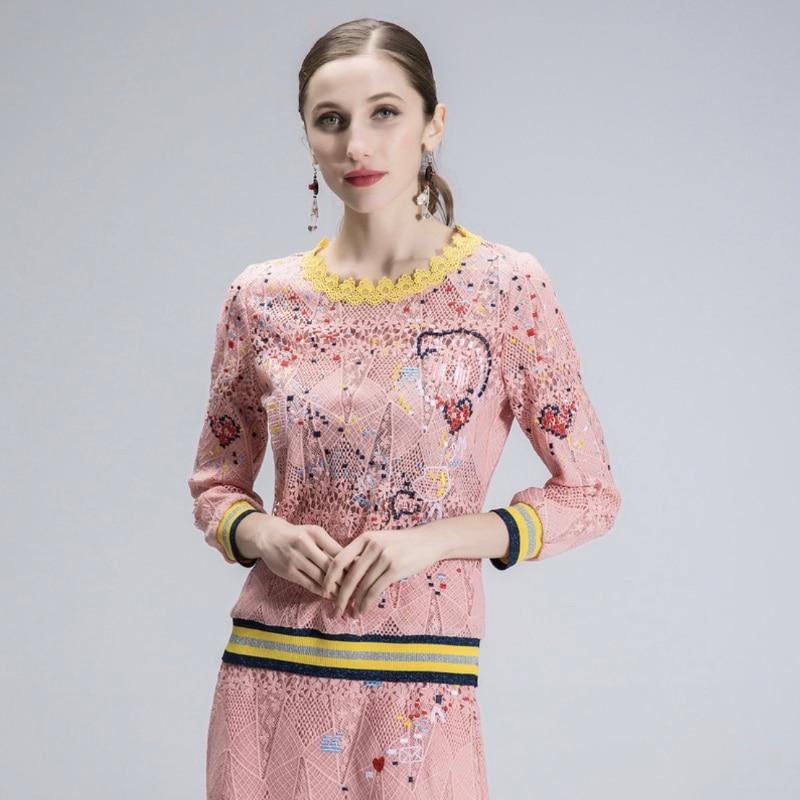Costume Couleur Nouvelle Deux Robe En T Taille Dentelle Féminin Vêtements Robes Contraste Printemps Pink Grande De shirt pièce Femmes PZPOr