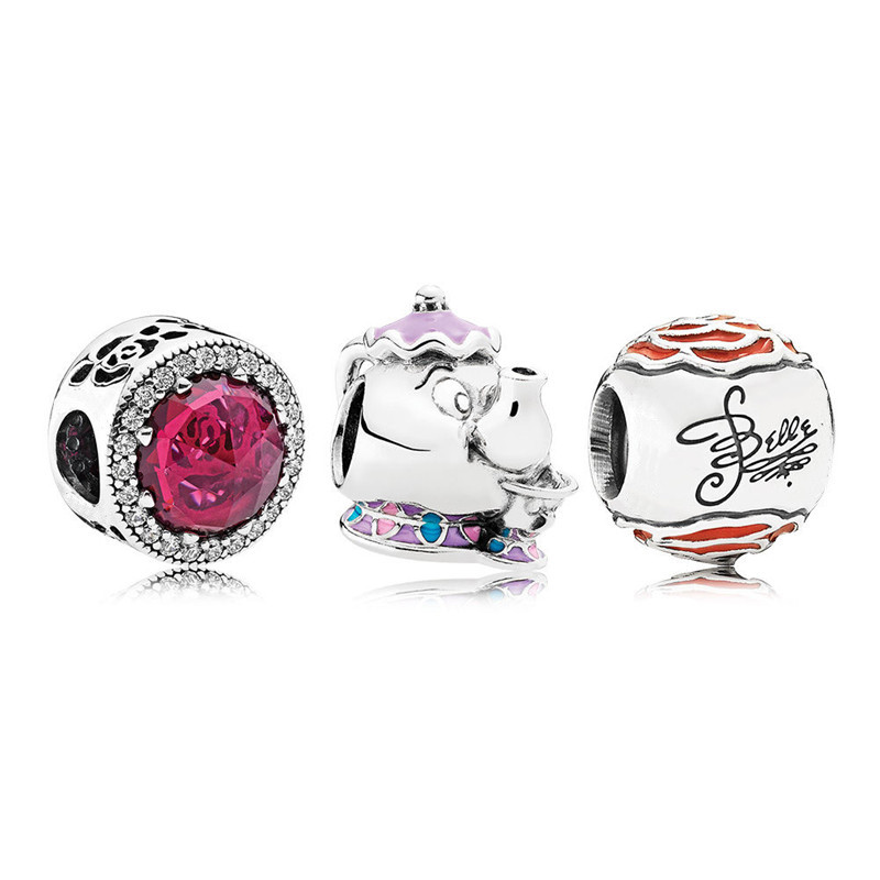 Cartoon Beauty Beast Radiant Rose Mrs Potts Chip Teapot Silver Beads Sets for DIY Jewelry Making