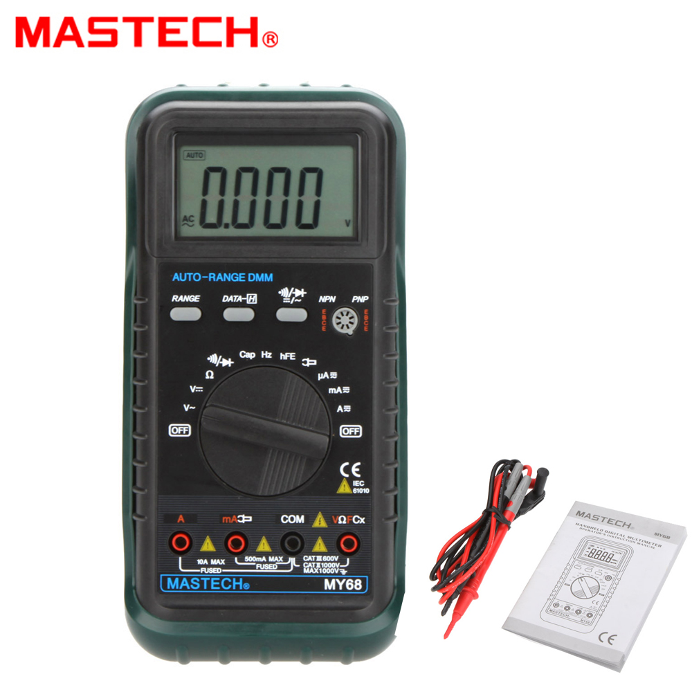 MASTECH MY68 Handheld LCD Auto/manual Range DMM Digital Multimeter DC AC Voltage Current Ohm Capacitance Frequency Meter bside adm02 digital multimeter handheld auto range multifunction dmm dc ac voltage current temperature meters multitester