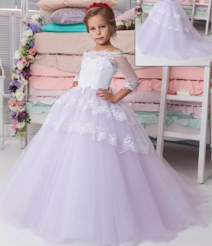 Princess Flower Girls Dresses For Weddings Off Shoulder Sheer Girls Pageant Dress Girls First Communion Dress Size 2-16 2017 new flower girls dresses for weddings jewel lace appliques princess girls pageant dress first communion dress