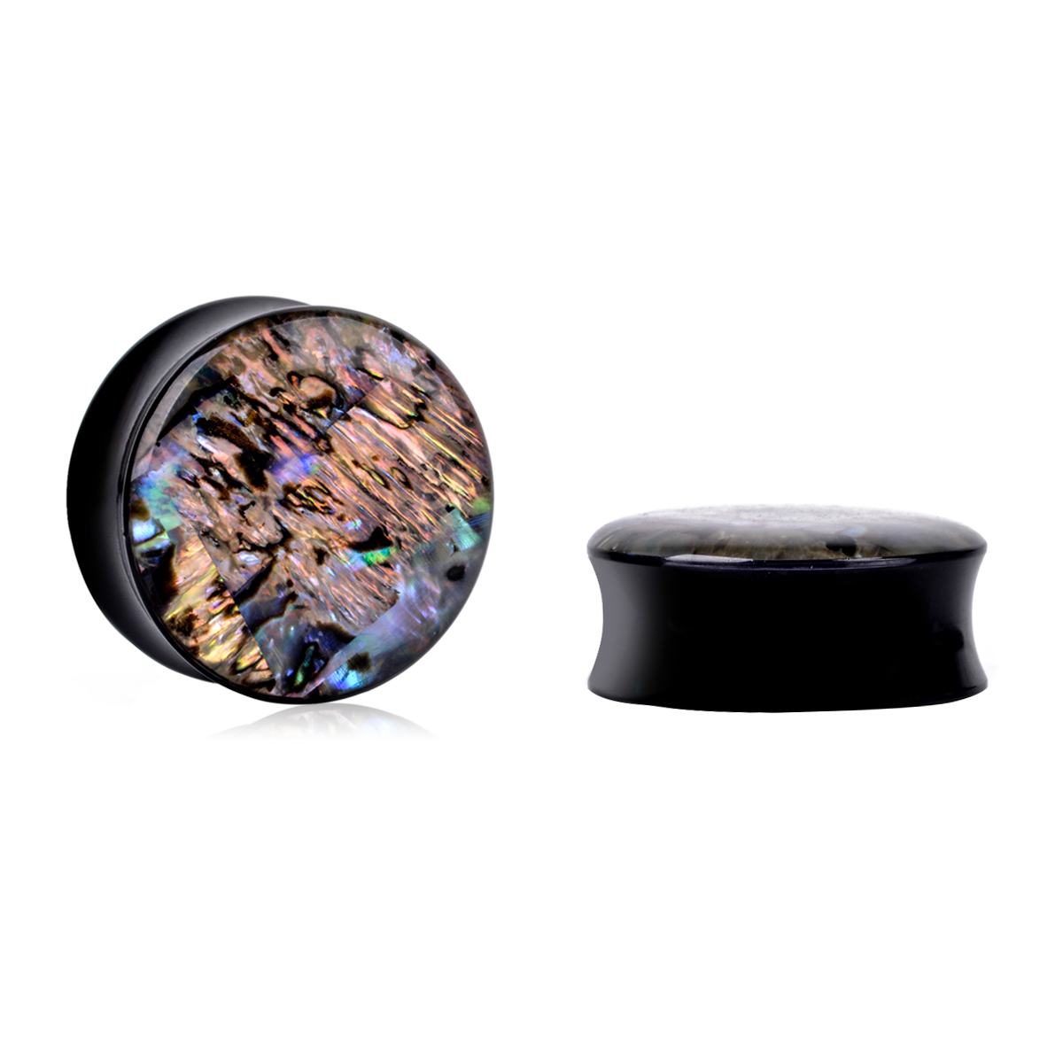 1Pair Vintage Acrylic Ear Tunnel Plugs Trendy Abalone Shell Gauges Plugs Expanders Body Piercing Jewelry For Women Female 8-25mm