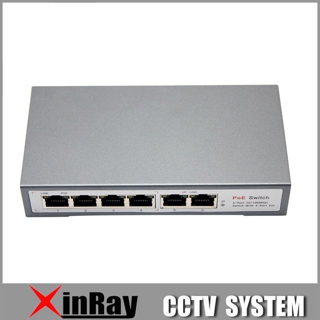 4CH POE Switch 10/100M 150m Distance 85W DC&2 Lan Port for IP Camera CCTV System NVR  POE Power Supply Adapter POE4CH