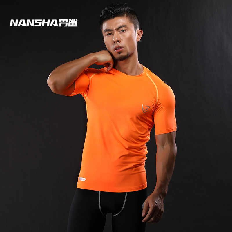 2017 NANSHA מותג דחיסת חולצה קצר שרוולים חולצה חדרי כושר כושר בגדים מוצק צבע מהיר יבש קרוספיט לייקרה חולצות