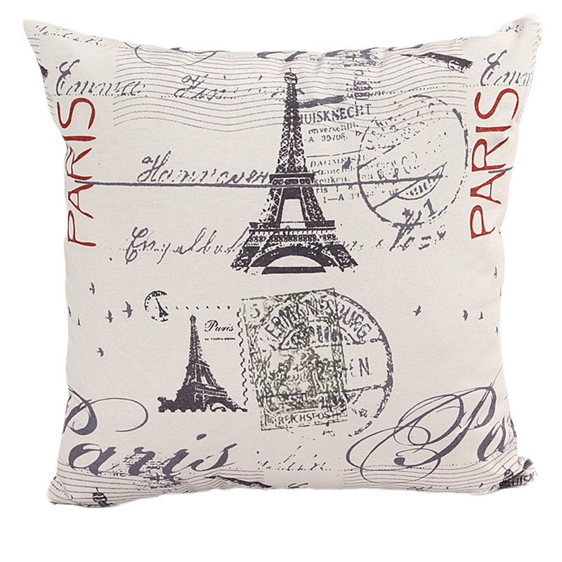 1PC Eiffel Tower pattern pillowcase slip Vintage PARIS Stamps Throw cushion case home decal pillow cover drop shipping on sale