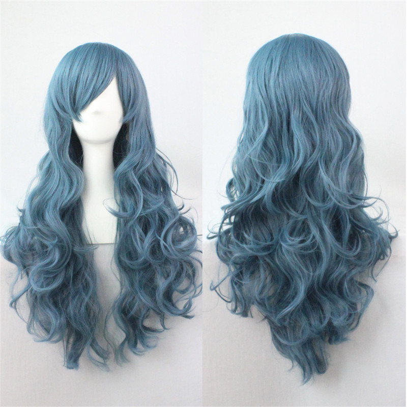 WoodFestival 18 Colors Synthetic Wig Female Smoke Blue Pink Long Wavy Hair Wigs With Bangs Women Heat Resistant Fiber Cosplay