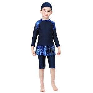 Image 3 - イスラム教徒の水着紺イスラム女の子ささやかな水着キャップ長袖水着 3 個プラスサイズ水泳 90 センチメートル 160 センチメートル