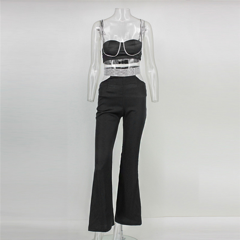 Two 2017 Cut pink Sexy Strap Piece Out Spaghetti New Home Leisure Feditch Beach Tube Fashion Top Summer Boot Black Jumpsuit Hollow 1qCCTw