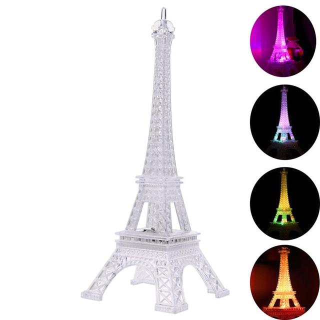 4 5 Eiffel Tour Veilleuse Paris Style Chambre Decoration Led Lampe De Table De Bureau De Mode Acrylique Lumiere Dans Night Lights De Lumieres Et