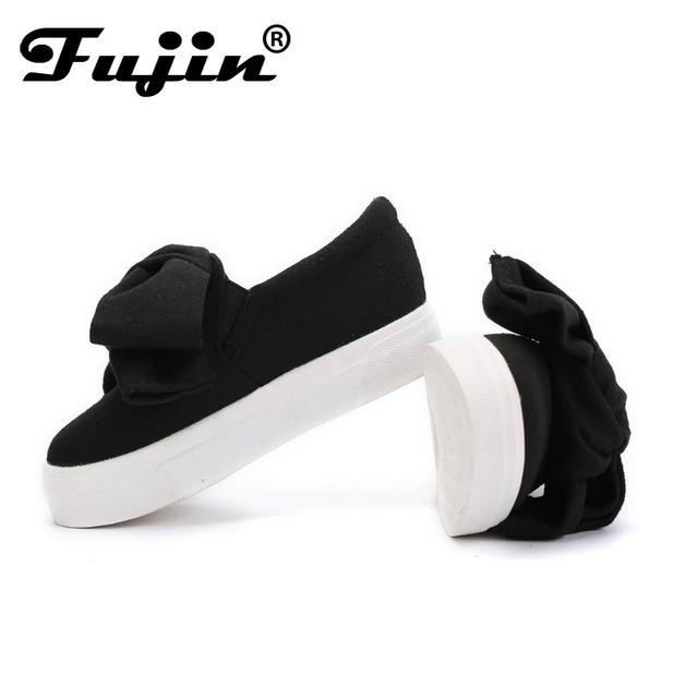 Fujin 3cm black grey women spring boots winter Fashion Women Flats Bow Woman Platform Shoes Slip On Espadrilles Shoes Creepers