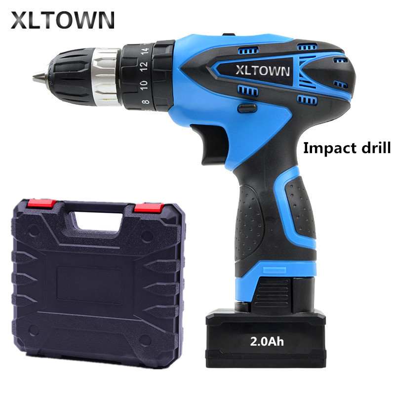 XLTOWN 25V 2000mA Impact Drill Rechargeable Lithium Battery Electric Screwdriver Cordless Household Electric Drill Power tools 3 6v 2400mah rechargeable battery pack for psp 3000 2000