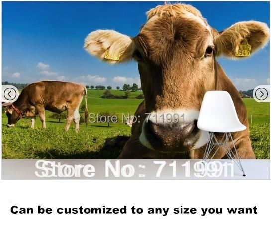 Livraison Gratuite Cow Wallpaper Papier Peint Mural Dans Fonds D