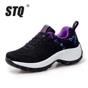 Image 2 - STQ 2020 Autumn Women Flat Platform Sneakers For Women Lightweight Comfortable Breathable Ladies Laces Casual Sneakers 1856