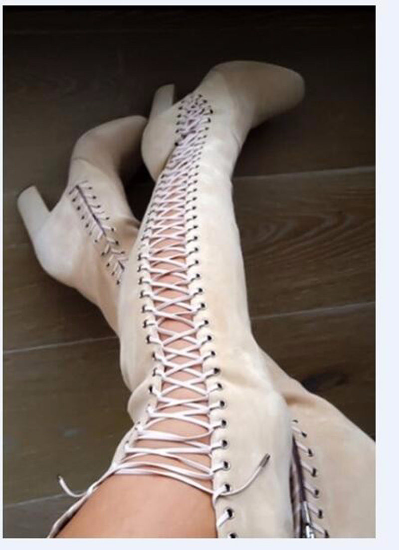 Hot Selling Women Fashion Suede Leather Lace-up Cut-out Thick Heel Over Knee Boots High Heel Long Gladiator Boots
