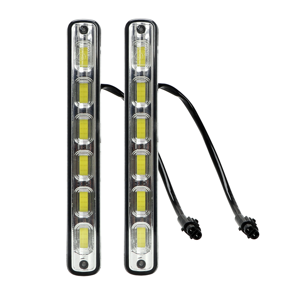 ITimo Fog Lamps DRL Car-styling Headlights Daytime Running Light 2Pcs LED COB Car Lights White DC 12V Head Lamp 2x automotive led fog lights h7 3000lm 80w car lights fog lamps drl driving light headlights xenon white 6000k car styling