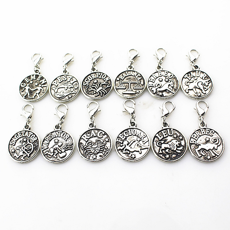 24pcs Mix 12 Signs of the Zodiac Dangle Lobster Clasp