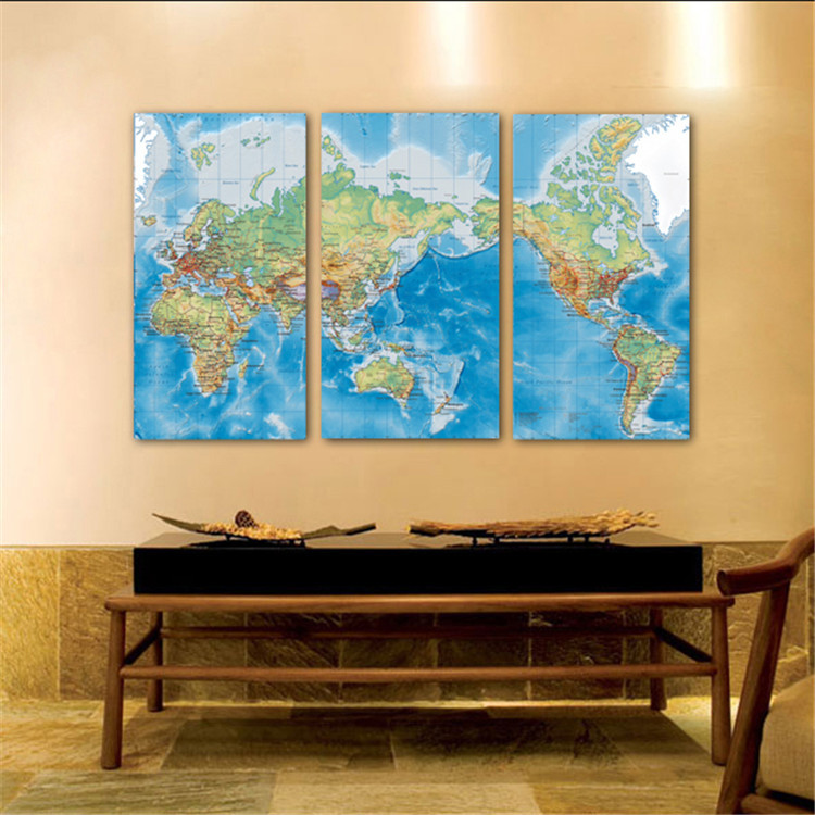 World Map Picture Unframed Oil Paiting Adornment Office Background ...