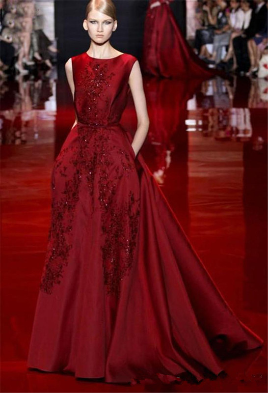 New Arrival Elie Saab Burgundy Evening Dress With Liques Moroccan Kaftan Y Backless Prom Dresses Formal Gown In From