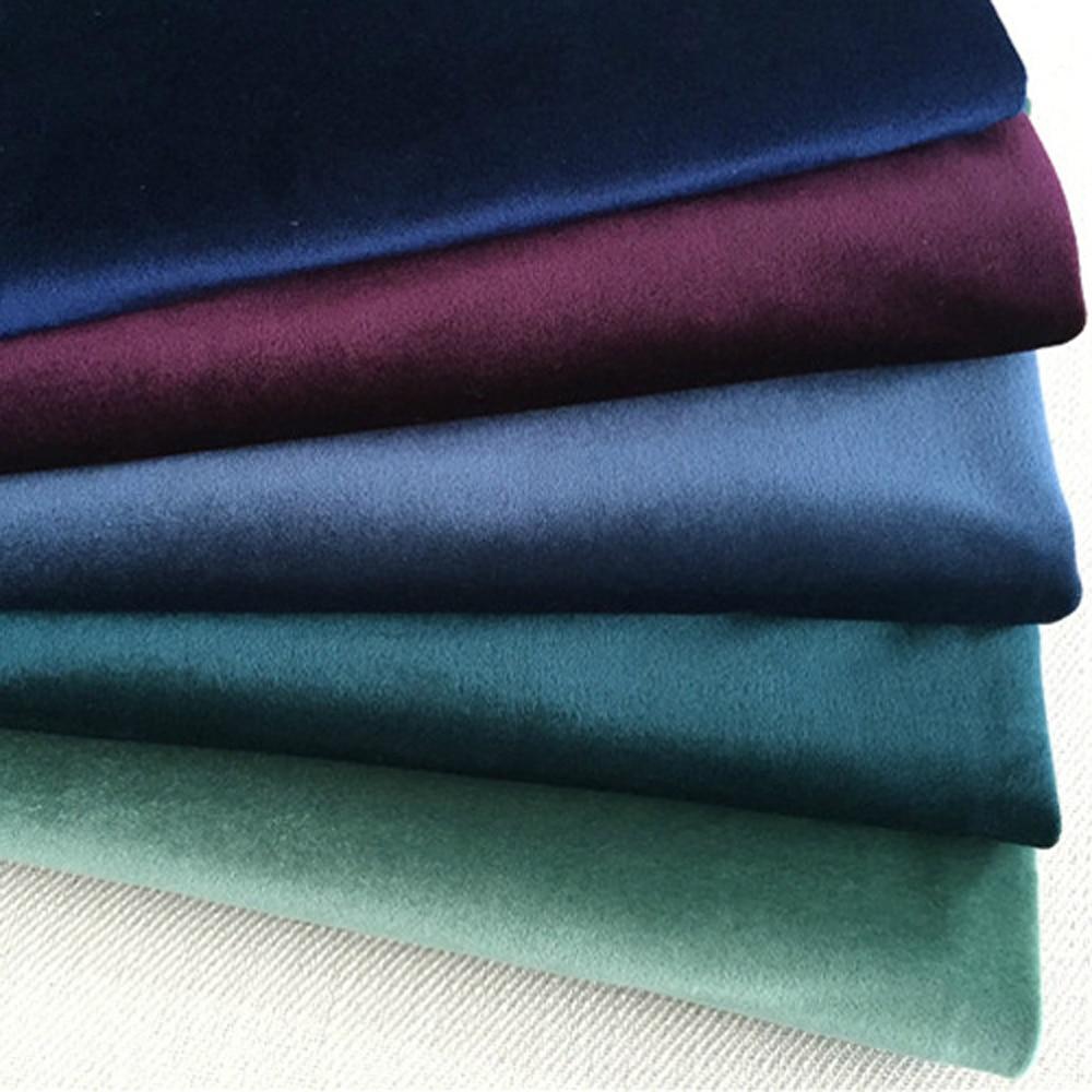 ESSIE HOME 140CM Silk Velvet Fabric Velour Stoff Pleuche Tischtuch Tischdecke Polster Vorhangstoff Rot Blau Braun
