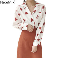 NiceMix 2019 Summer Elegant Blouse Women Casual Blusa Heart-shaped Printed Female Long Sleeve Womens Tops and Blouses Femme