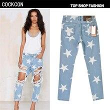 COCKCON высокой талией джинсы женщина рваные джинсы Отверстие для женщин джинсовой жан Свободные Прямые брюки джинсы женщина pantalon femme TSL014