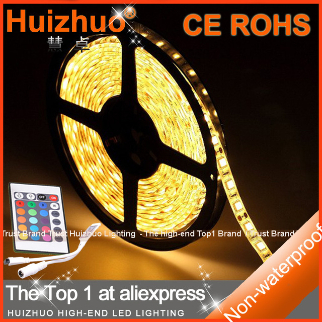 [Huizhuo Lighting]Holiday Sale RGB Non-waterproof SMD3528 300LEDs Flexible LED Strip Light With 24 Keys IR Controller