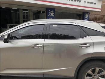 4pcs Tea Color Sun Guards Rain Guards Wind Guards Sun Shade For Car Window Vent Shade Wind Deflector Window with Chrome Trim Emblems Custom Fit for Lexus RX 350 RX 450h 2013 2014 2015 2016 2017