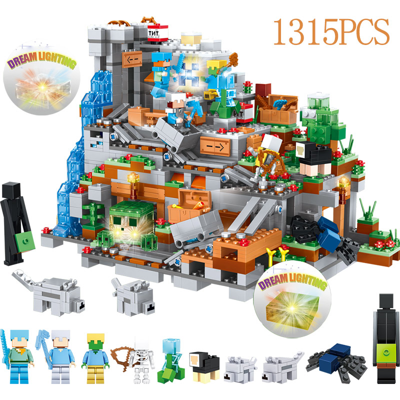 My World Mini 21137 Zombie Cave Building Blocks Compatible LegoINGLYS Minecrafted Aminal Alex Figures Brick Toys For Children часы mini world mn1012a