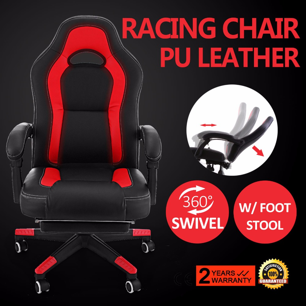 High Back Racing Gaming PU Swivel Computer Office Chair With Foot Stool