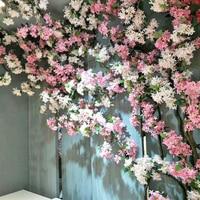 silk Cherry Blossom vine Wedding Arch decoration Home party decoration Artificial flower Silk sakura wall Hanging Garland Wreath