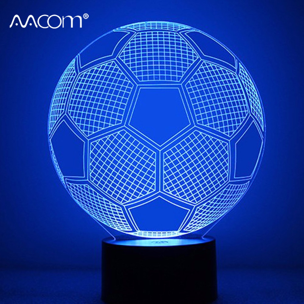 USB RGB 3D Football Novelty Lamp 3D Soccer Light With 17 Key Remote Controller 3 Modes Children Kids Birthday Gift Xmas Present